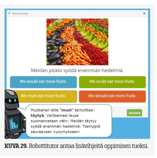 Kuvakaappaus, jossa robottitutor antaa vihjeitä oppimisen tueksi suomentamalla englanninkielisiä tekstejä.